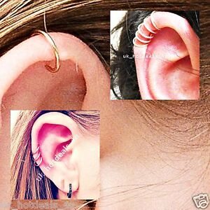 Details About Silver Hoop Sleeper Earrings 6 8 10mm Cartilage Piercing Ring Helix Rook Earring