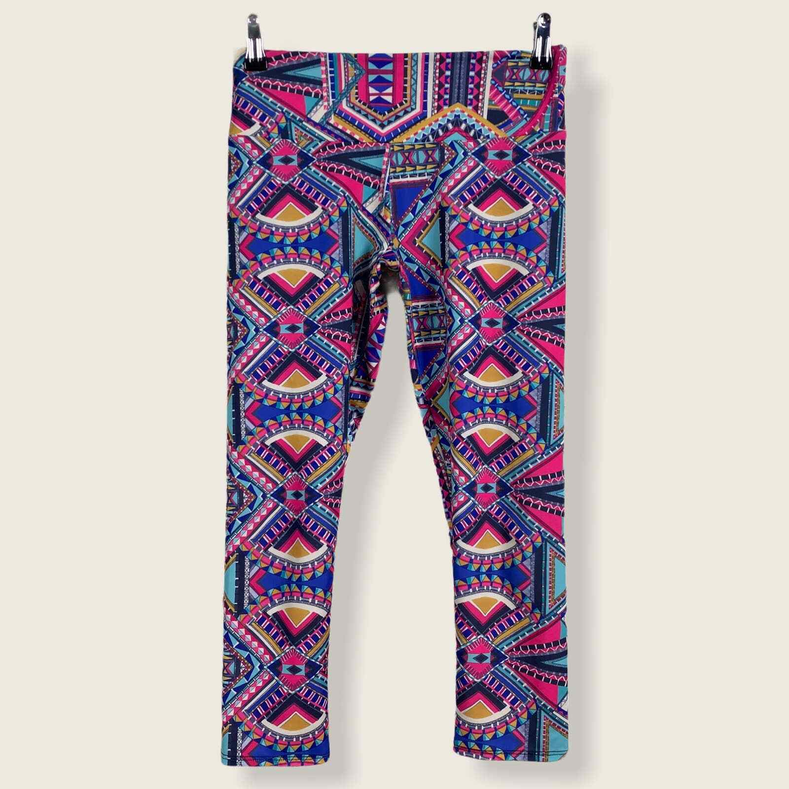Onzie Colorful Printed Cropped Capri Leggings SMALL MEDIUM Pink Teal Gym Yoga