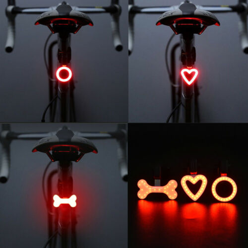 USB Rechargeable Bike Rear Tail Light LED Bicycle Warning Safety Smart Lamp F7
