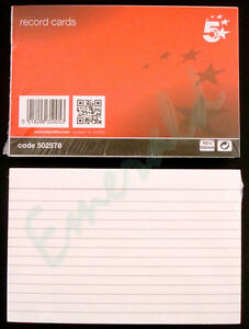 100-x-Record-Cards-White-Ruled-Both-Sides-Size-6-x-4-152x102-Same-Day-Dispatch