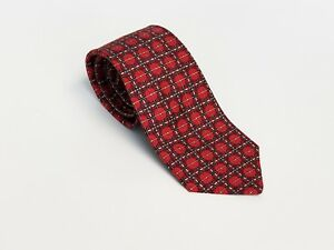 Men-039-s-HERMES-Pure-Silk-Tie-Necktie-NWOT-839-EA-Red-Yellow-56-034-X-3-25