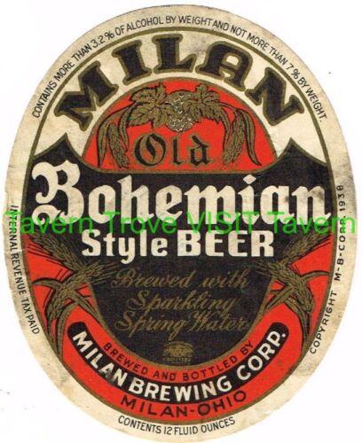 Rare 1930s Milan Bohemian Beer Label Tavern Trove 12oz 3.2-7% Ohio