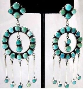 Image Is Loading Navajo Eleanor Largo Carico Lake Turquoise Cer 925