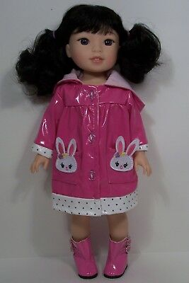 """Pink Bunny Rabbit Raincoat Fits Wellie Wishers 14.5/"""" American Girl Clothes"""