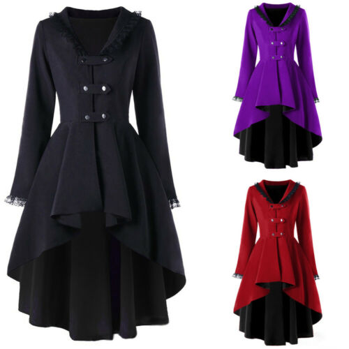 Womens Retro Gothic Tailcoat Overcoat Steampunk Jackets Cosplay Party Outwear