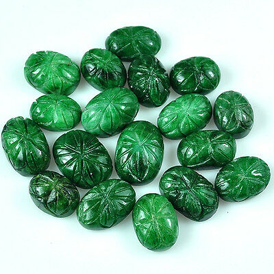 243+Ct Natural Oval Carved Green Emerald Drilled Beads Lot For Beading Jewelry