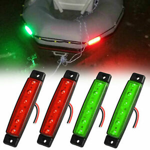 4pcs Red Green Boat Navigation LED Lights Stern Lights Boats Starboard Light 24V