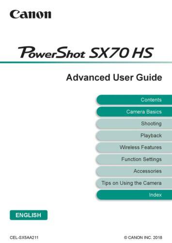 Canon Powershot SX70 Hs Impreso Guía Manual del usuario instrucciones A5 Full Colour