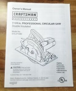 image is loading owner-s-manual-craftsman-professional-circular-saw-amp-