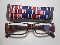 Reading Glasses & Pouch Multi Colored Stripes Pink Purple Red Clear +1.50 Q4
