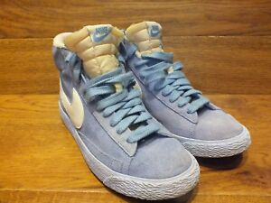 new style fb60b 378fe Image is loading Nike-Blazer-Light-Blue-Suede-Hi-Top-Trainers-
