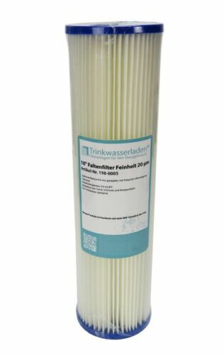 """10/"""" Sediment Wasserfilter Pleated Polyester 20 µm Auswaschbar Wiederverwendbar"""
