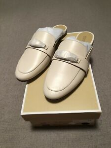 michael kors tilly slip on loafer flats light cream size 8 new with box