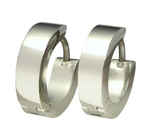 Edelstahl klapp Kikuchi Ohrringe Titan Creolen Silber 4mm //13,4mm Herren Damen