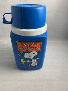 VINTAGE-Snoopy-And-Woodstock-Blue-Thermos-1958-1965