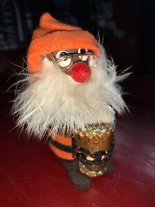 Vtg-Kurt-Adler-Nodder-Bobble-Head-Elf-Drum-Wood-Felt-Beard-Ornament