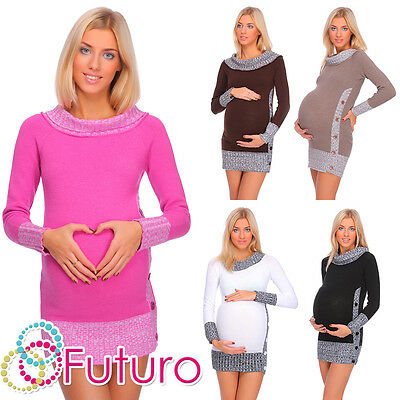Sonnig Winter Warm Maternity Jumper Boat Neck Cardigan Knitted Dress Tunic Buttons Fr04