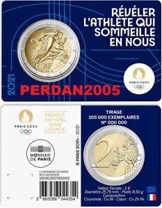 FRANKREICH 2021 2 EURO ORIGINAL COINCARD BLAU OLYMPISCHE SPIELE IN PARIS 2024