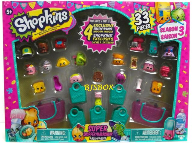 Shopkins Season 3 Super Shopper Pack 33 Pieces 4 Exclusive Cookie Phone New