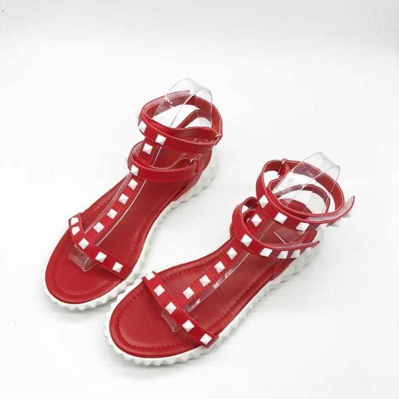 Sandali eleganti bassi  ciabatte colorati pelle rosso borchie comodi simil pelle colorati 1009 6d70d0