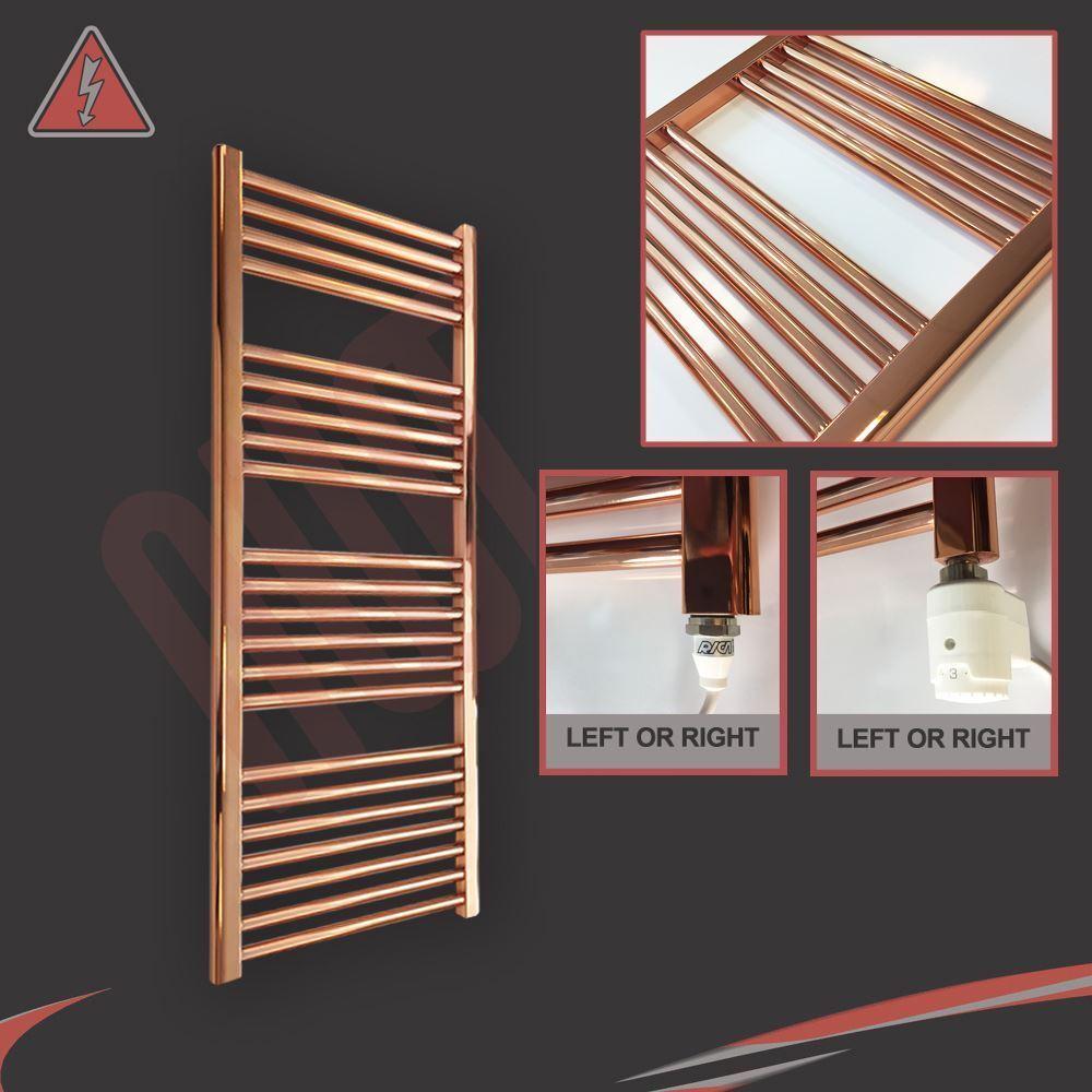 300mm(w) x 1200mm(h) Pre-Filled Electric Straight Copper Towel Rail - 250 300W