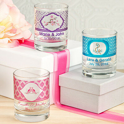 36 Personalized Round Shot Glasses & 25 Frosted Personalized candles