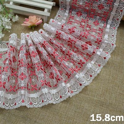 """6""""*1Y Embroidered Tulle Lace+White Ribbon~White+Coral Red~Wish of Daisy~Wedding~"""