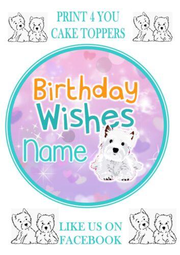 ND2 white terrier westie chien anniversaire personnalisé rond cake topper glaçage