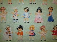 Paper Dolls Paperdolls Girls Boys Variety Green Fabric Bthy