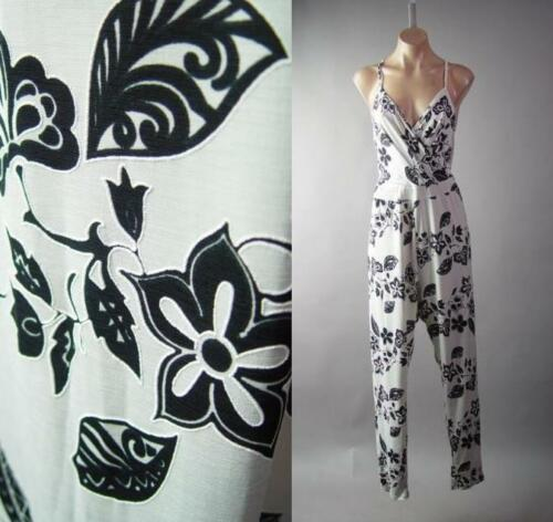 Ivory Black Floral Tattoo Pattern Strappy Pants Jumper 294 mv Jumpsuit 1X 2X 3X