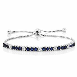 Oval-cut-9x7mm-Created-Blue-Sapphire-Adjustable-Bracelet-in-Sterling-Silver
