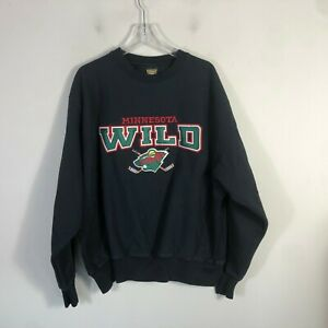 Vintage-Minnesota-Wild-Crew-Neck-Sweatshirt-Men-039-s-L-Black-Long-Sleeve-Pull-Over