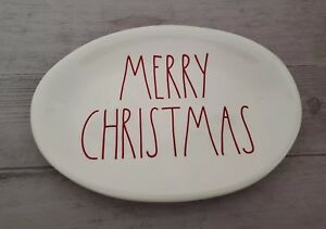 NEW (4) Rae Dunn by Magenta MERRY CHRISTMAS Oval Plate Farmhouse Holiday Decor