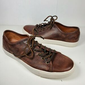 Frye-mens-Sneakers-comfort-Shoes-Low-Brown-Leather-Lace-Up-Low-Top-sz-US-8