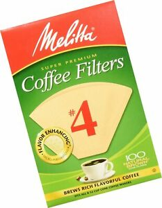 100 Count Melitta Number 4 Coffee Filters Natural Brown