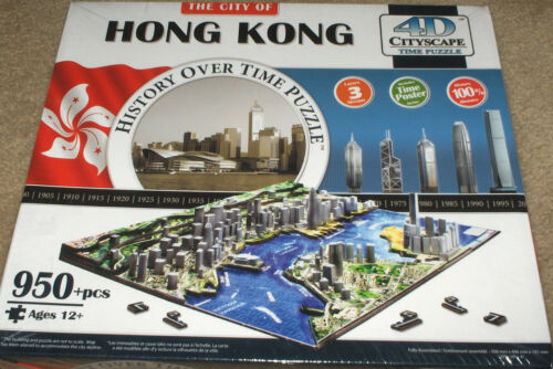 """City of Hong Kong"" History Over Time 4D Cityscape 950+ Pc Puzzle SEALED"