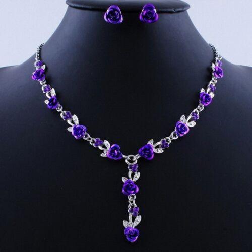 Women Rose Wedding Bridal Jewelry Crystal Rhinestone Necklace Earrings Set Gifts