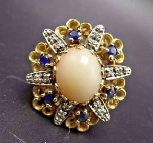 14K-Gold-ESTATE-COCKTAIL-RING-Pink-Angel-Skin-Coral-Sapphire-Diamonds-size-7-5