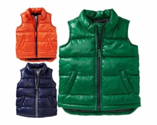 NWT Old Navy Quilted Frost Free Puffer Vest Outerwear Green Boys 18-24 months