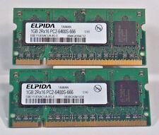 Elpida EBE11UE6ACUA-8G-E Laptop So-Dimm RAM Memory 2x1GB 2GB DDR2 PC2-6400S-666