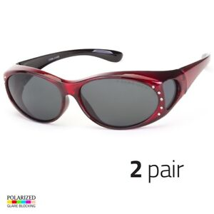 2-PC-POLARIZED-Rhinestone-cover-put-over-Sunglasses-wear-Rx-glass-driving-Red-m