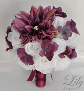Image Is Loading 17Piece Package Silk Flower Wedding Bridal Bouquet WINE