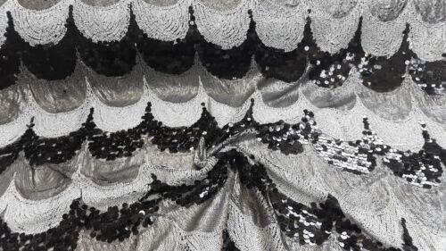 Paillettenstoff Pailletten Stoffe Weiß-Silber-Schwarz Dekostoff Bekleidungsstoff