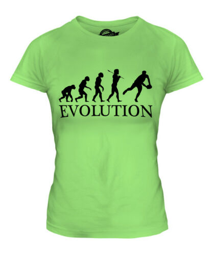 RUGBY EVOLUTION OF MAN LADIES T-SHIRT TEE TOP GIFT CLOTHING JERSEY