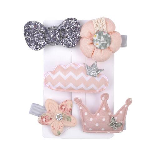 5pcs Kids Baby Girls Cartoon Bow Hair Clips Lace Flower Barrette Pins Set Gift