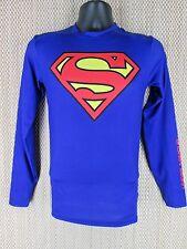 "UNDER ARMOUR Compression Blue Alter EGO ""Superman"" HEATGEAR Shirt Mens Medium M"