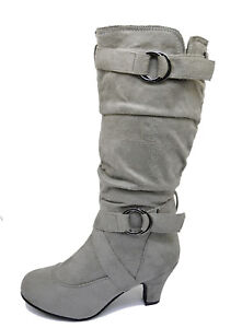 LADIES-GREY-ZIP-UP-BIKER-SLOUCH-RUCHED-TALL-KNEE-CALF-LOW-HEEL-BOOTS-SHOES-4-10