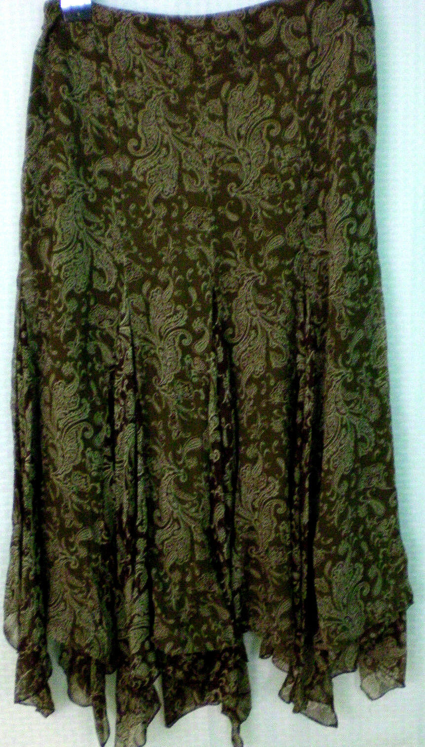 Lauren Ralph Petite Skirt Size 8P Brown Silk Yarn Womens Lined New with Tags