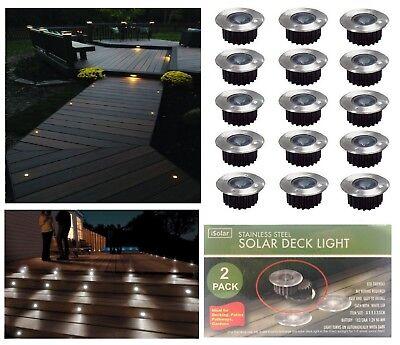 Solar Power Wireless LED White Deck Lights Outdoor Garden Driveway Patio Decor