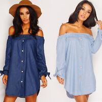 Women Blouse Off The Shoulder Bardot Button Denim Look Shirt Jean Dress Top 6-14